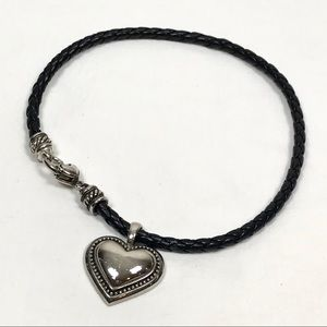 Brighton Puffed Heart Choker Necklace Silver Black